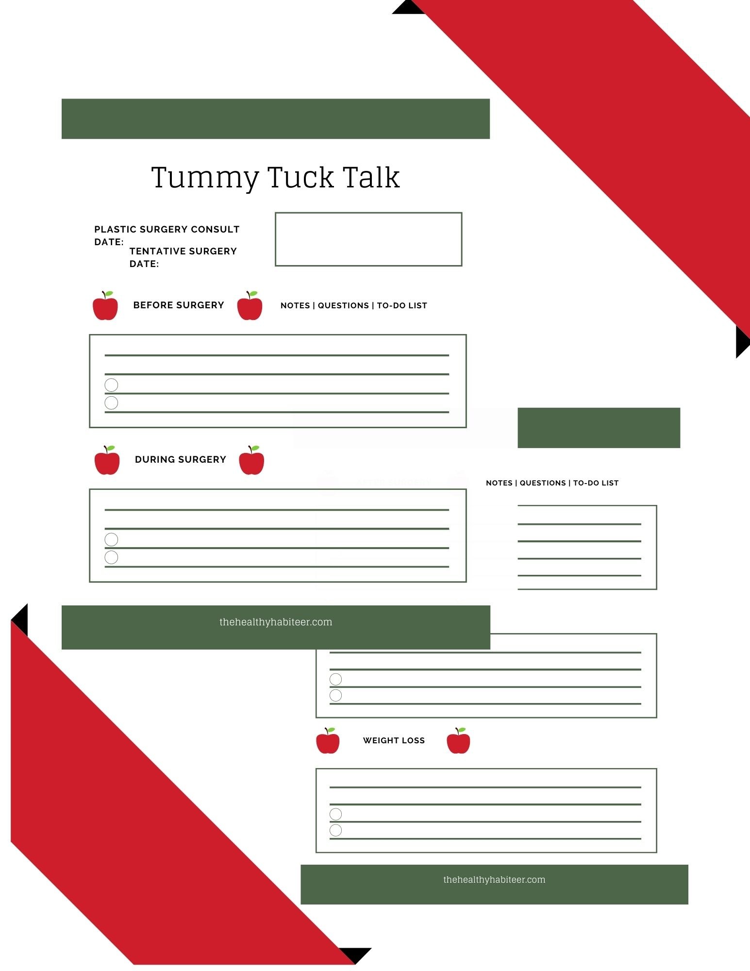 tummy tuck workbook